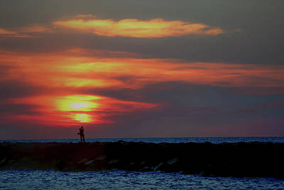 Photograph - Fishing At Sunset by Teresa Wilson
