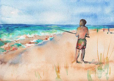 Fishing Pole Painting - Fishing At The Beach Watercolor by Maria's Watercolor