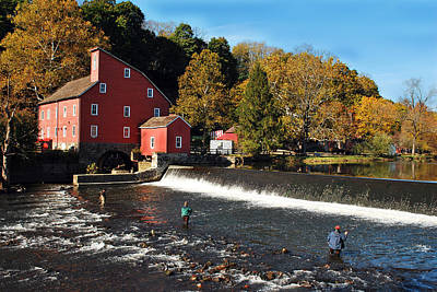 Fishing At The Old Mill Art Print by Lori Tambakis