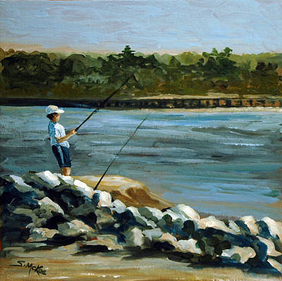 Painting - Fishing At The Point by Suzanne McKee