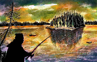 Fishing At Twilight Art Print by Ion Danu
