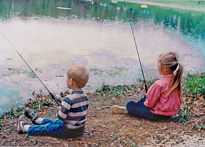 Fishing At Watkins Mill Art Print by Steve Karol