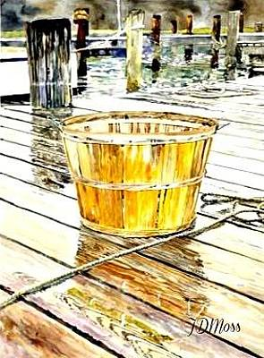 Drawing - Fishing Basket by Janet Moss