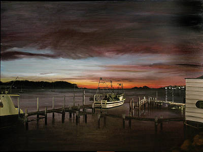Painting - Fishing Bay At Sunrise by Elisabeth Dubois