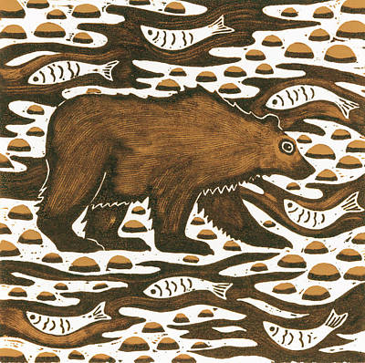 Fishing Bear Art Print by Nat Morley