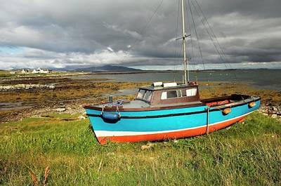 Berneray Photograph - Fishing Boat And Cottages On The Island Of Berneray. Outer Hebrides, Scotland by David Lyons