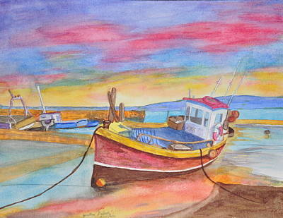 Fishing Boat At Low Tide Art Print by Jonathan Galente