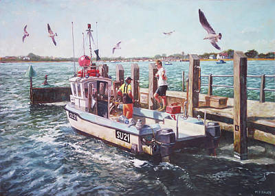Painting - Fishing Boat At Mudeford Quay by Martin Davey
