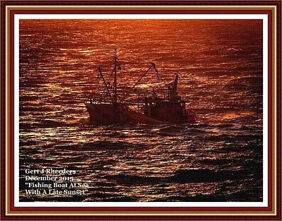 Food And Flowers Still Life Rights Managed Images - Fishing Boat At Sea With A Late Sunset. L A With Decorative Ornate Printed Frame. Royalty-Free Image by Gert J Rheeders