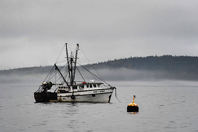 Photograph - Fishing Boat Fog Bar Harbor Maine by Terry DeLuco