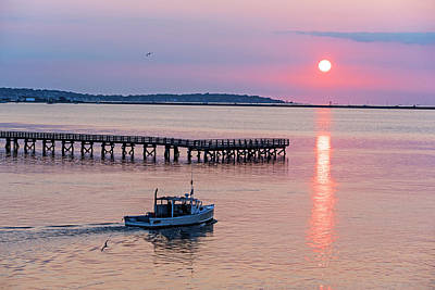 Photograph - Fishing Boat Going By The Fishing Pier At Sunrise Lynn Ma by Toby McGuire