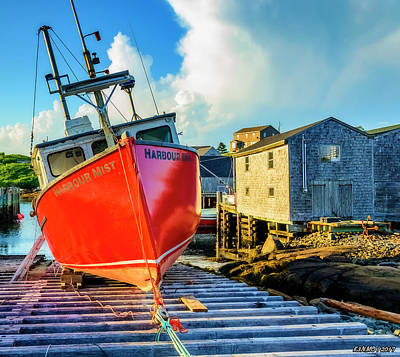 Photograph - Fishing Boat Harbour Mist, Peggys Cove by Ken Morris