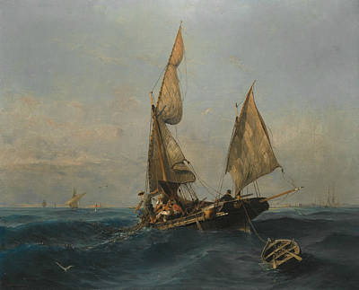 Fishing Boat In Choppy Waters Art Print by Konstantinos Volanakis