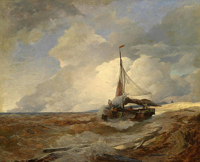 Andreas Achenbach Painting - Fishing Boat In Distress by Andreas Achenbach