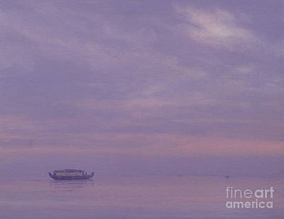 At Peace Painting - Fishing Boat On Vembanad Lake, Kerala by Derek Hare