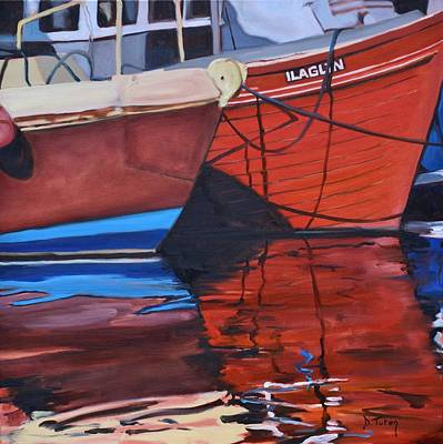 Donna Summer Painting - Fishing Boat Reflections by Donna Tuten