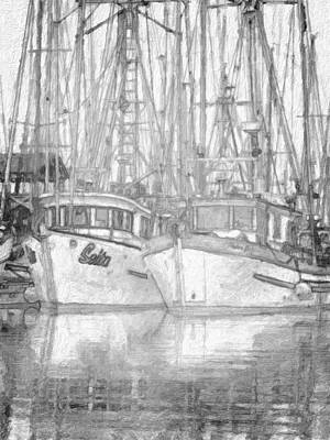 Fishing Boat Sketch Art Print by Richard Farrington