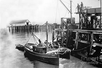 Photograph - Fishing Boat Thad And It's Lighter At Booth Cannery Wharf Monterey Circa 1915 by California Views Archives Mr Pat Hathaway Archives