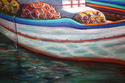 Fishing Boatgreek  Art Print by Yvonne Ayoub