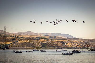 Fishing Boats And Blue Herons Art Print by Brad Stinson