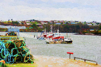 Digital Art - Fishing Boats And Traps In Kinsale Harbor by Les Palenik