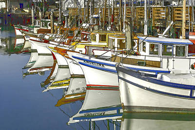 American City Scene Digital Art - Fishing Boats At Fisherman's Wharf by Bill Gallagher