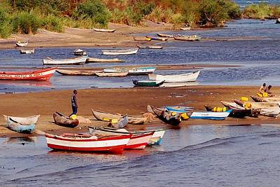 Photograph - Fishing Boats At Lake Malawi 01 by Dora Hathazi Mendes