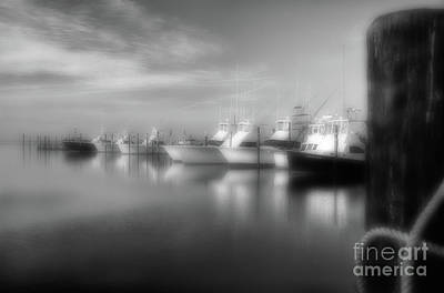 Photograph - Fishing Boats At Oregon Inlet Outer Banks Bw by Dan Carmichael
