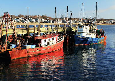 Art Print featuring the photograph Fishing Boats At Provincetown Wharf by Roupen  Baker