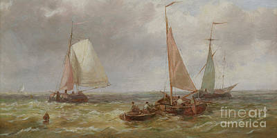 Nineteenth Century Painting - Fishing Boats At Sea by Abraham Hulk