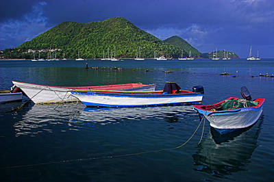 Fishing Boats At Sunrise- St Lucia Art Print