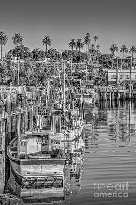 Photograph - Fishing Boats Bw Small Fleet Commercial Vessels by David Zanzinger