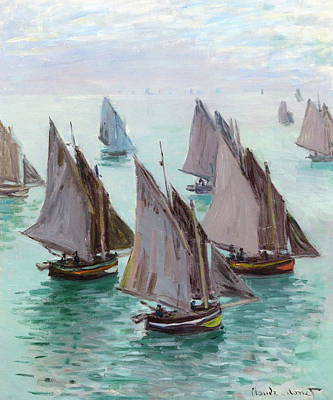 Angling Painting - Fishing Boats, Calm Weather by Claude Monet