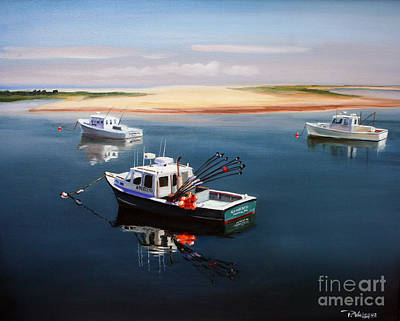 Calm Painting - Fishing Boats-cape Cod by Paul Walsh
