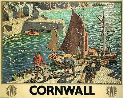 Painting - Fishing Boats Docked In A Harbor With Fishermen In Cornwall - Vintage Travel Poster by Studio Grafiikka