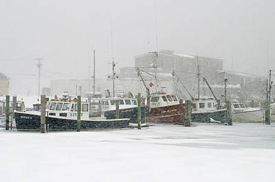 Fishing Boats During Winter Storm Sandwich Cape Cod Print by Matt Suess