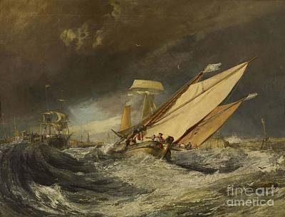 Painting - Fishing Boats Entering Calais Harbor by Celestial Images