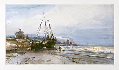 Drawing - Fishing Boats by Eugene Isabey