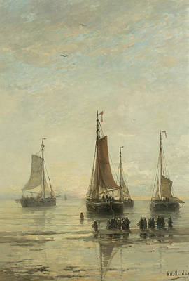 Fishing From Boat Painting - Fishing Boats From Scheveningen Anchored by Hendrik Willem Mesdag