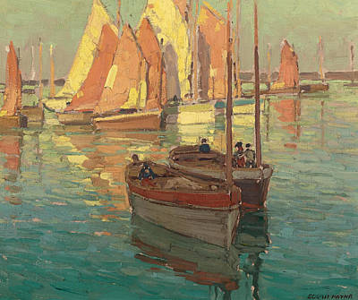 Fishing Boats In A Harbor Art Print by Edgar Alwyn Payne