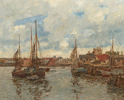 Painting - Fishing Boats In A North Frisian Port City by Andreas Dirks