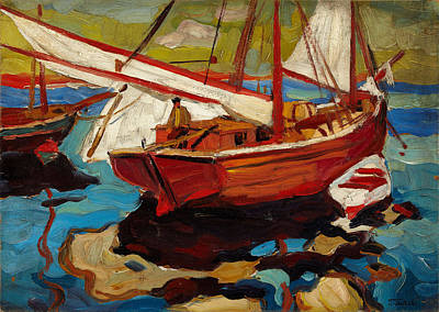 Fishing Boats In Harbor Art Print