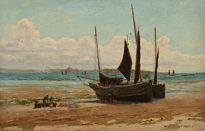 Fishing Boats In Mount's Bay  Art Print by Henry Martin