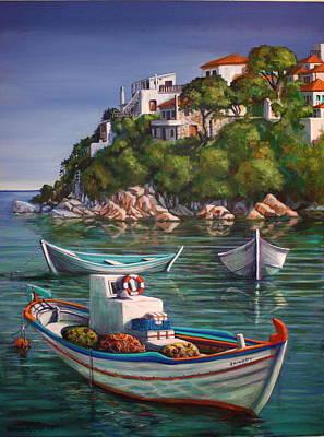 Fishing Boats In Skiathos Old Port Art Print by Yvonne Ayoub