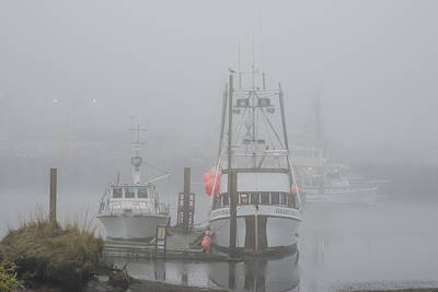 Photograph - Fishing Boats In The Fog by Robert Potts