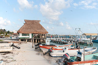 Digital Art - Fishing Boats In The Marina At Isla Mujeres by Carol Ailles