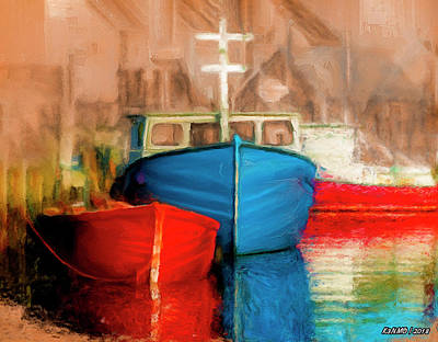 Digital Art - Fishing Boats by Ken Morris