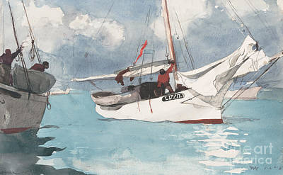 Reflecting Water Painting - Fishing Boats, Key West, 1903 by Winslow Homer