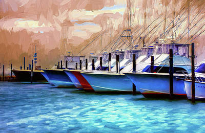 Oregon Inlet Painting - Fishing Boats Of The Outer Banks Ap by Dan Carmichael