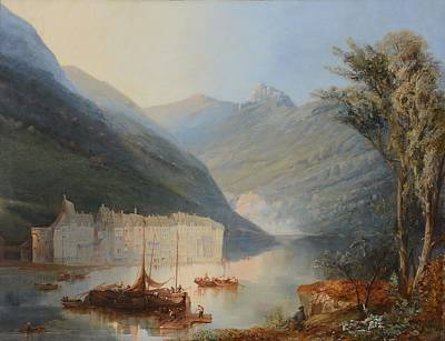 Waterside Painting - Fishing Boats On A Loch, With A Waterside Village In A Valley by James Baker